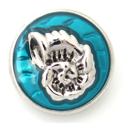 1 PC 18MM Blue Seashell Nautical Enamel Silver Candy Snap Charm ds5032 CC1148