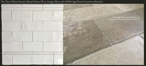 "Three Whites Glazed Ceramic 3"" x 6"" Subway Tile paired with Aged French Limestone Montclair"
