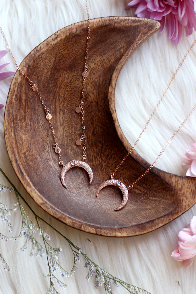 Moon Goddess Rose Gold Necklace