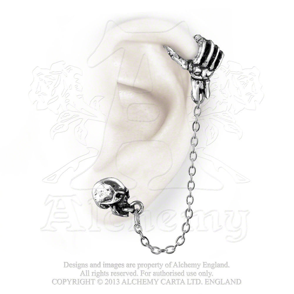 Alchemy Gothic Mortal Remains Skull Skeleton Hand Ear Cuff