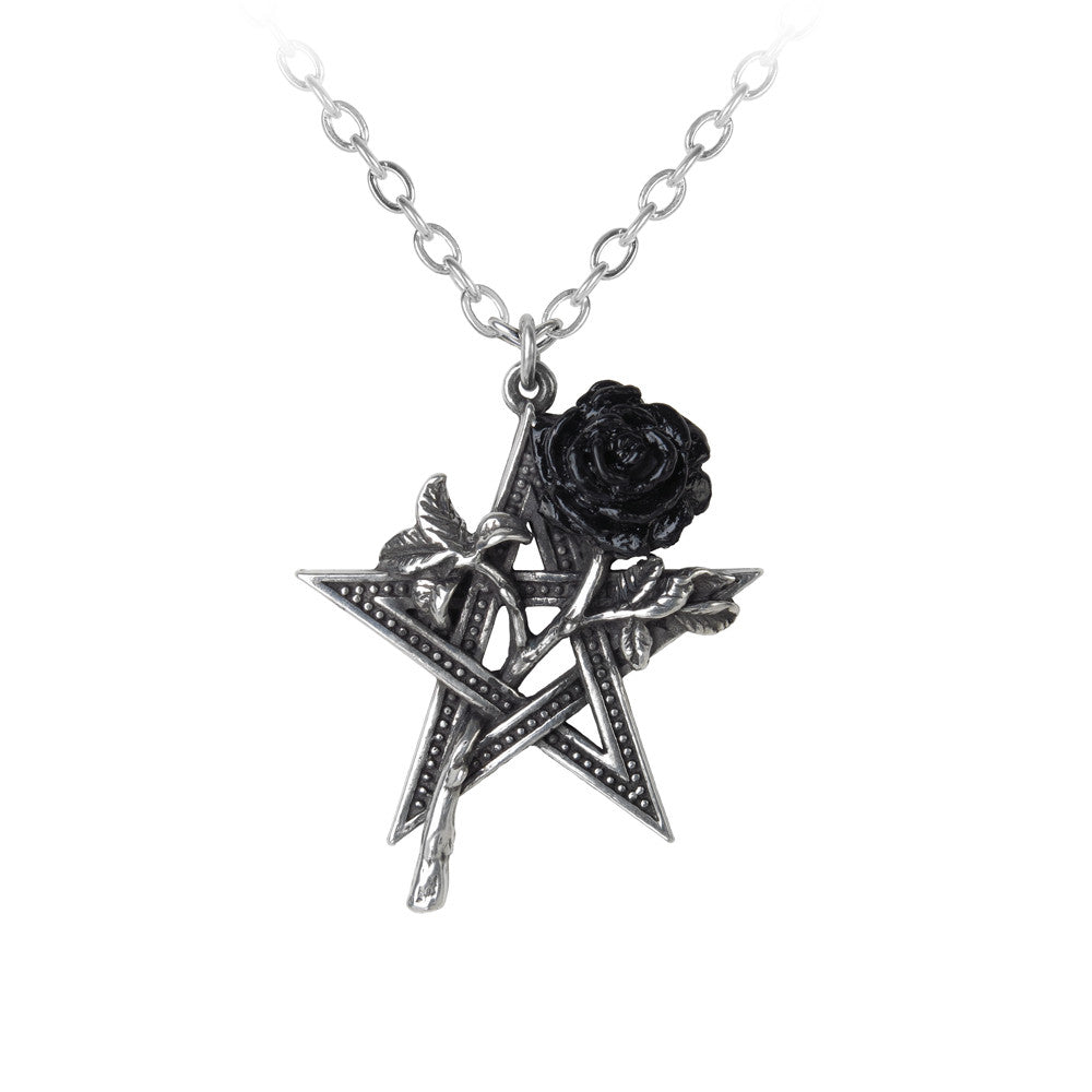 Alchemy Gothic Ruah Vered Black Rose & Pentacle Pendant Necklace