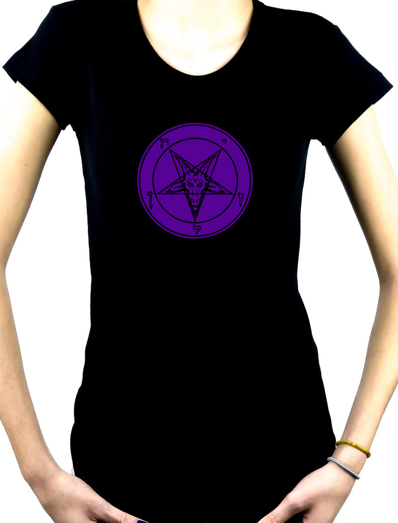 Solid Purple Print Baphomet Women's Babydoll Shirt Metal Clothing