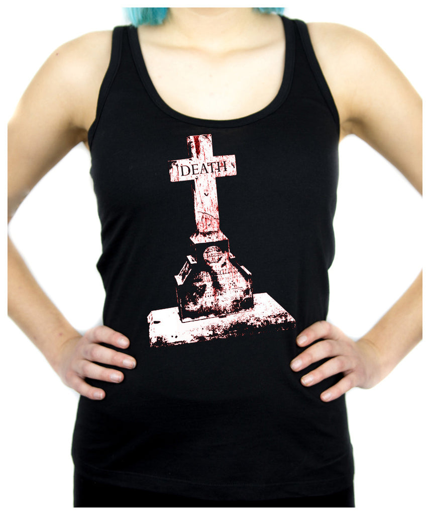 Death Tombstone Cemetery Women's Racer Back Tank Top Shirt