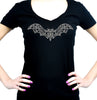 Wrought Iron Grey Vampire Bat Women's V-Neck Shirt Top Gothic Clothing