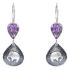 Amethyst Stone with Elephant Design Earrings