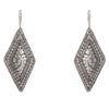 925 Sterling Silver Large Diamond Shaped Dotted Hammered Earrings