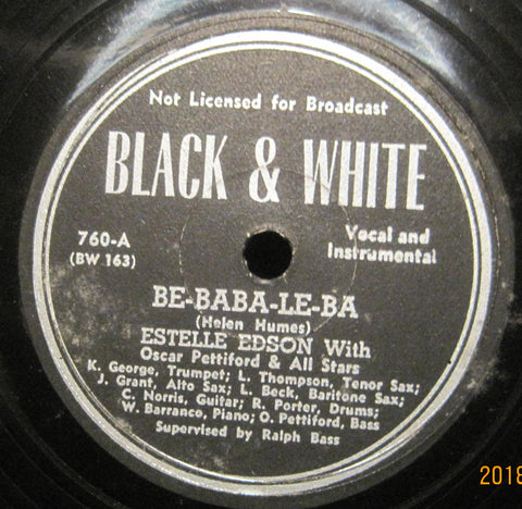 Estelle Edson w/ Oscar Pettiford & His All Stars - BE-BABA-LE-BA b/w Rhythm in a Riff