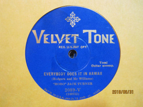 Hobo Jack Turner - Everybody Does It in Hawaii b/w A Hobo's Life is a Happy Life