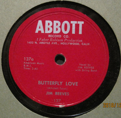 Jim Reeves - Butterfly Love b/w Let Me Love You Just A Little