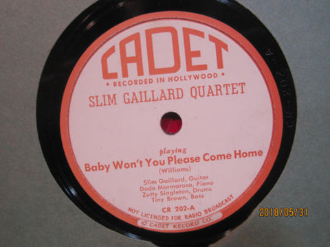 Slim Gaillard Quartet - Baby Won't You Please Come Home b/w The Hop