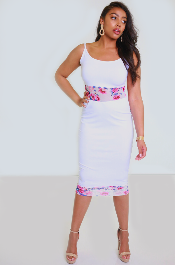 Pink Mesh Insert Bodycon Midi Dress Plus Sizes