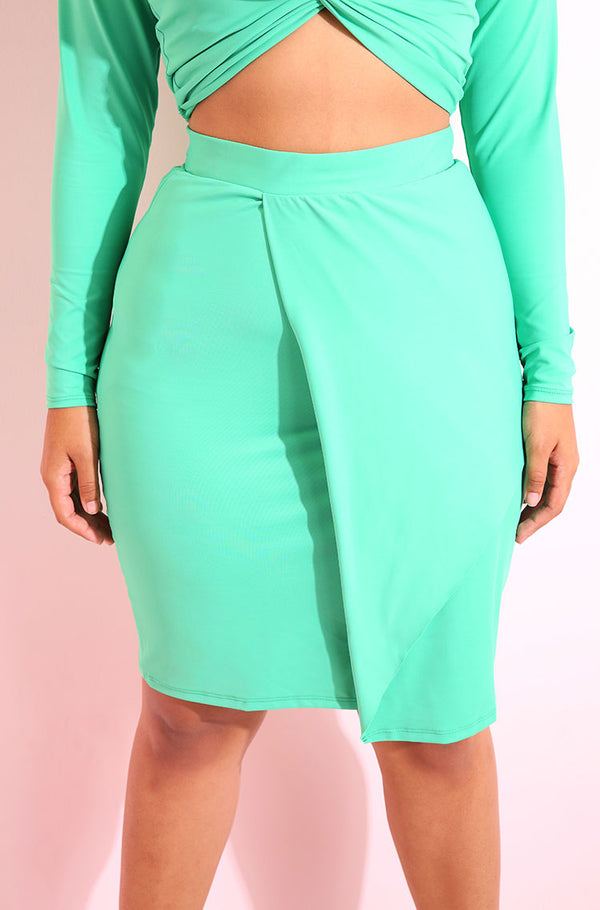 Turquoise Front Drape Bodycon Mini Skirt plus sizes
