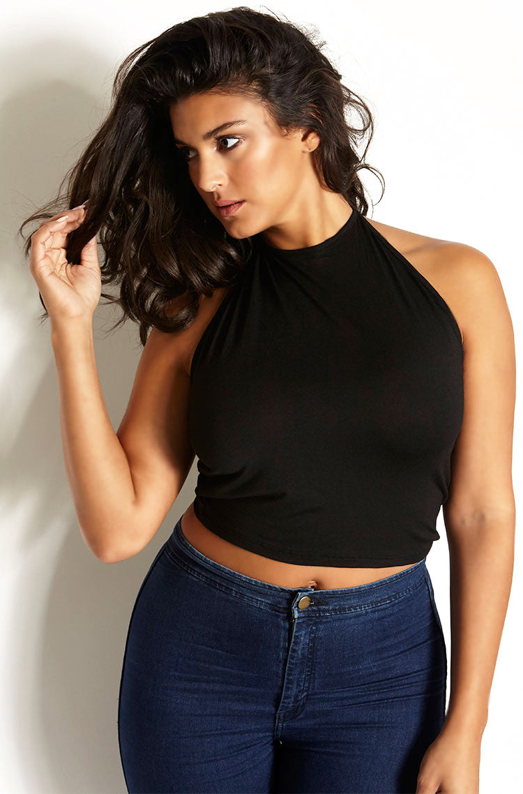 Black Halter Crop Top plus sizes
