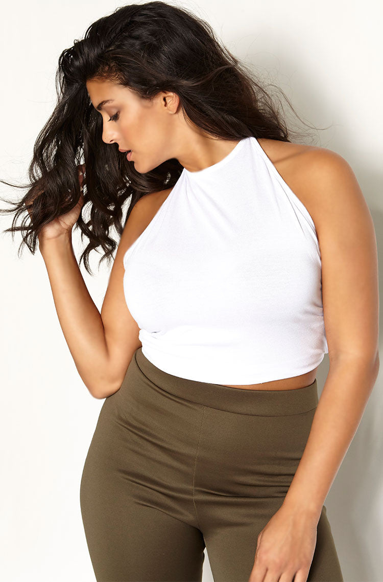 White Halter Crop Top plus sizes