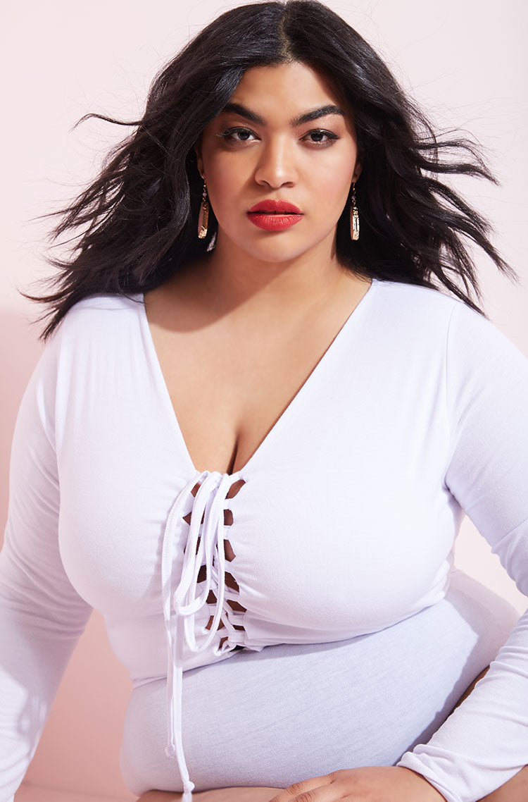 White Caged Long Sleeve Bodysuit plus sizes
