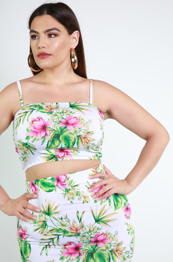 White Floral Two Piece Set Plus Sizes