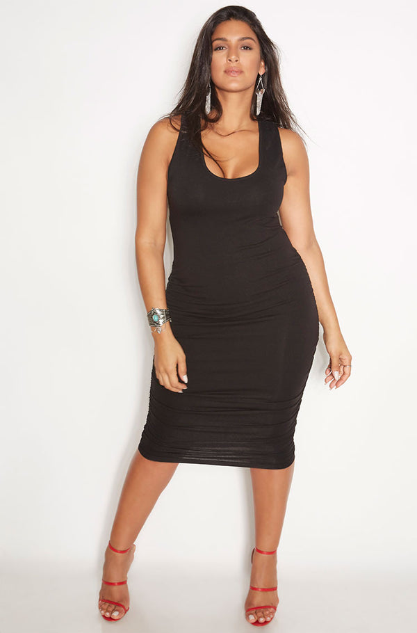 Black Ruched Racerback Midi Dress plus sizes