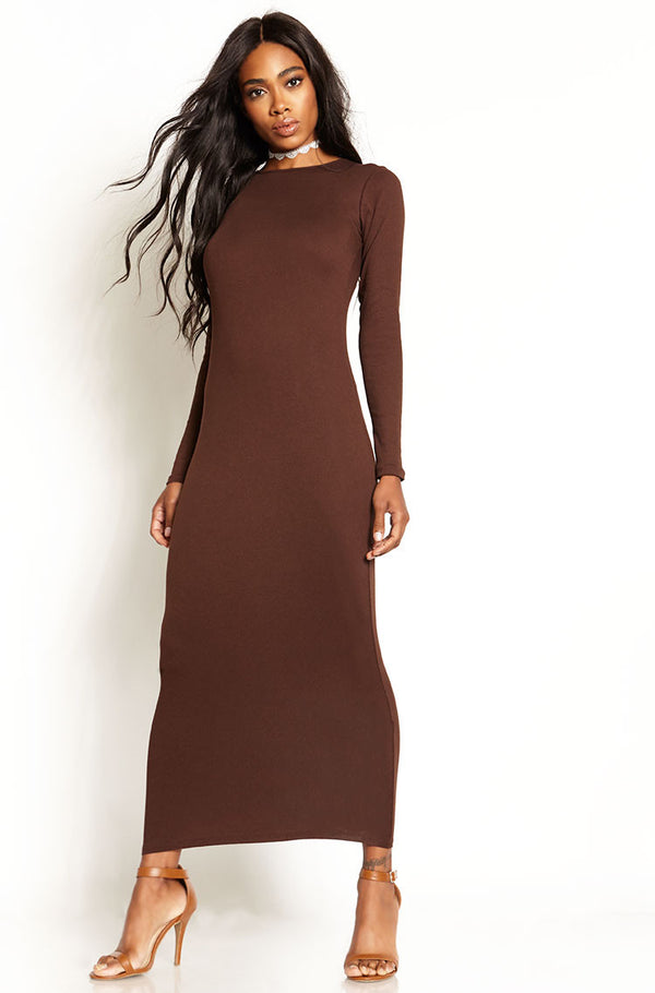 Brown Ribbed Bodycon Maxi Dress plus sizes