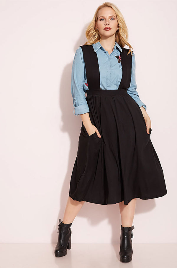 Black Dungaree Skirt With Pockets plus sizes