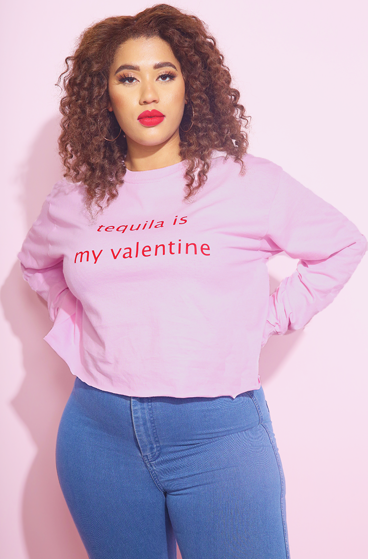 tequila is my valentine Cropped Sweatshirt street style plus sizes