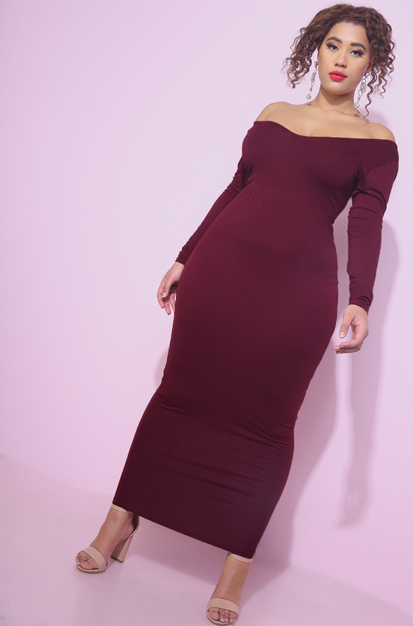 Burgundy drop shoulder maxi bodycon dress plus sizes
