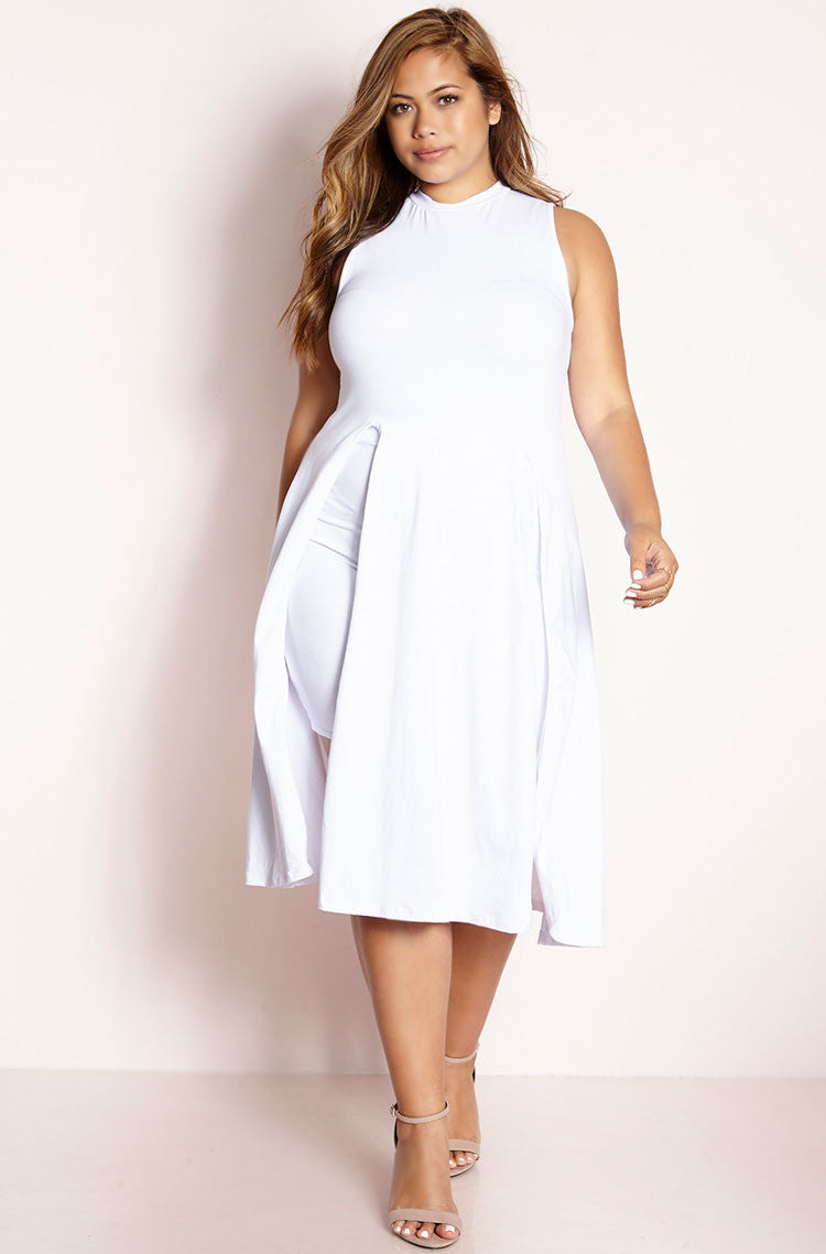 White Double Slit Top Mini Skirt Set plus sizes