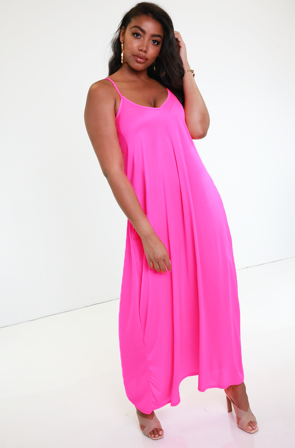 Neon Pink Strappy Neon Maxi Dress Plus Sizes