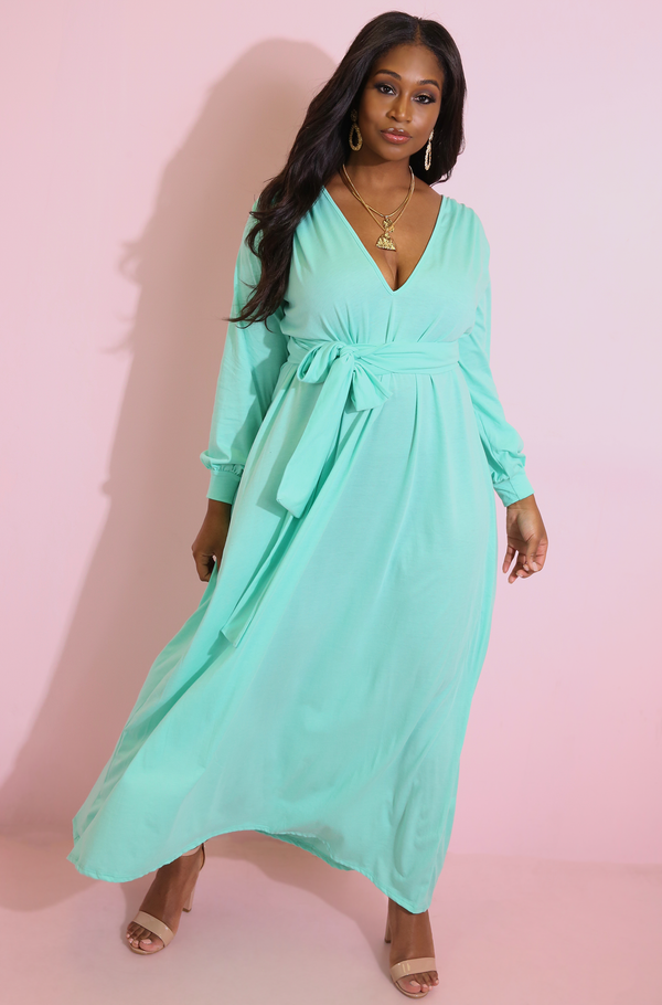 Mint Plunge Maxi Dress With Puff Sleeves Plus Sizes
