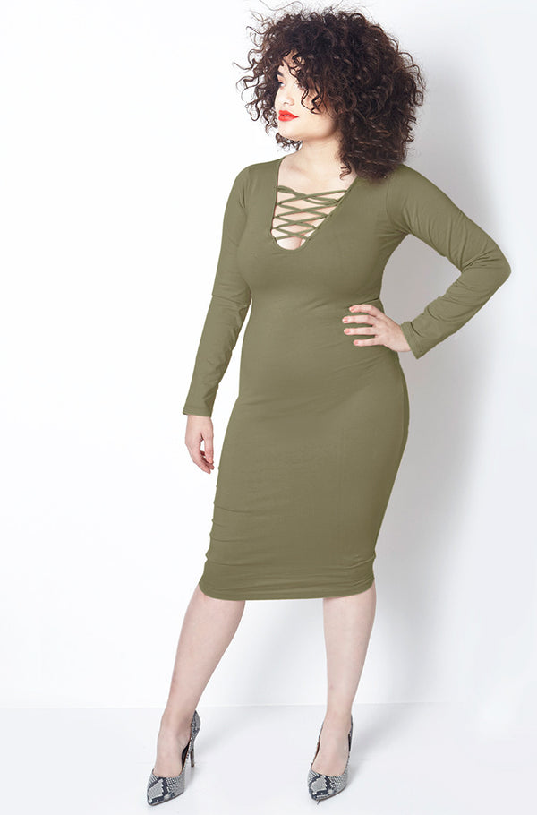 Olive Bodycon Midi Dress plus sizes