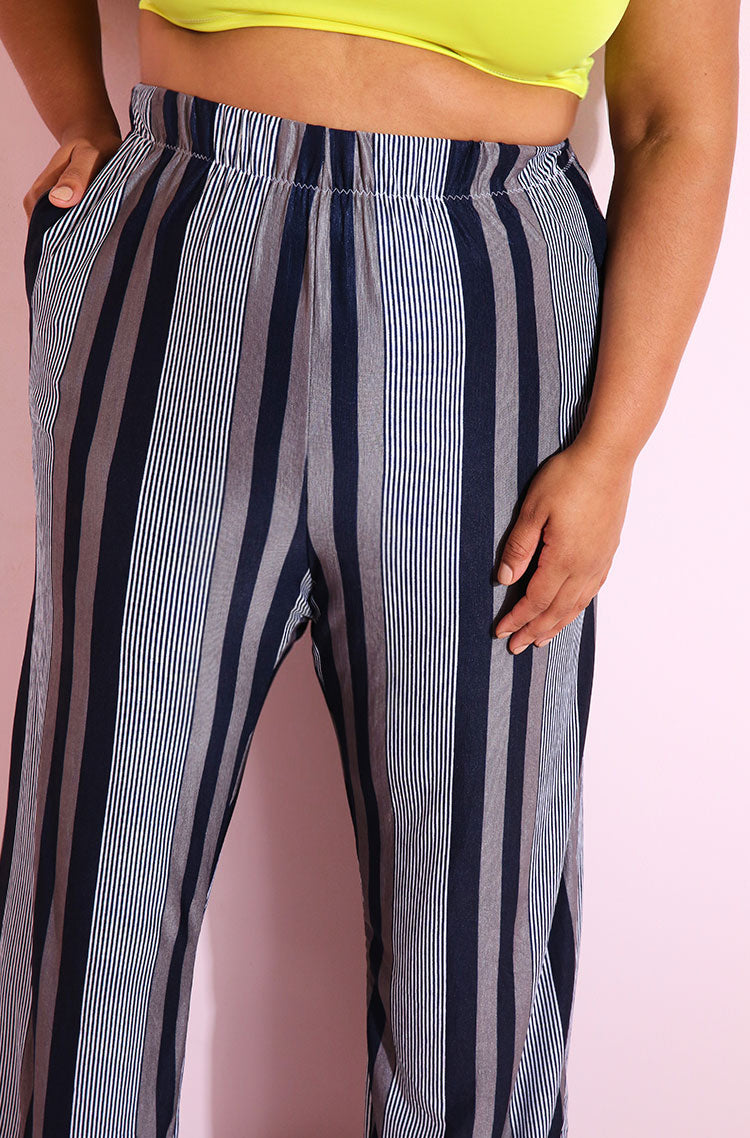 Navy Striped Palazzo Pants Plus Sizes
