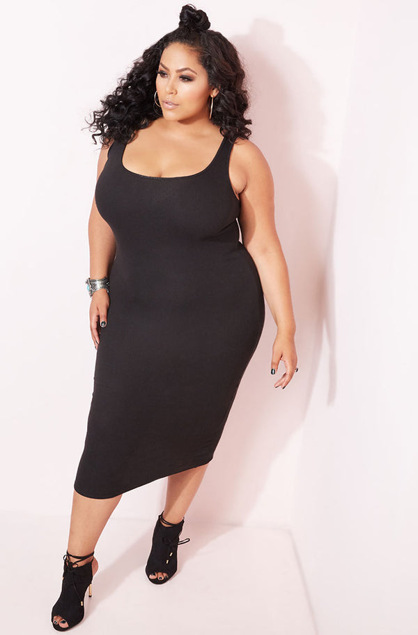 Black Ribbed Tank Bodycon Midi Dress plus sizes
