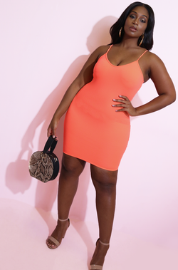 Neon Coral V-Neck Bodycon Mini Dress