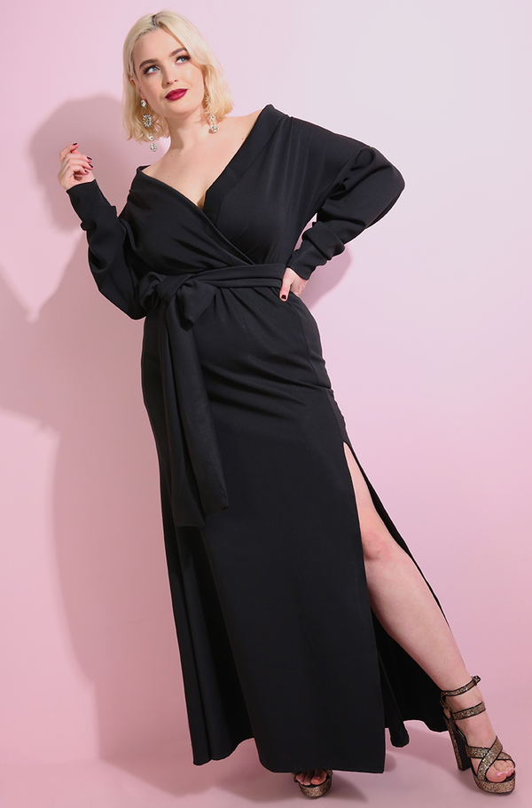 Black Drop Shoulder Skater Maxi Gown plus sizes