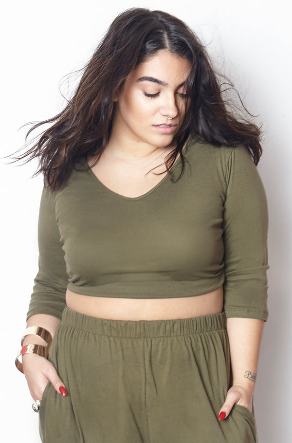 Hunter Green Ribbed 3/4 Sleeve Crop Top plus sizes