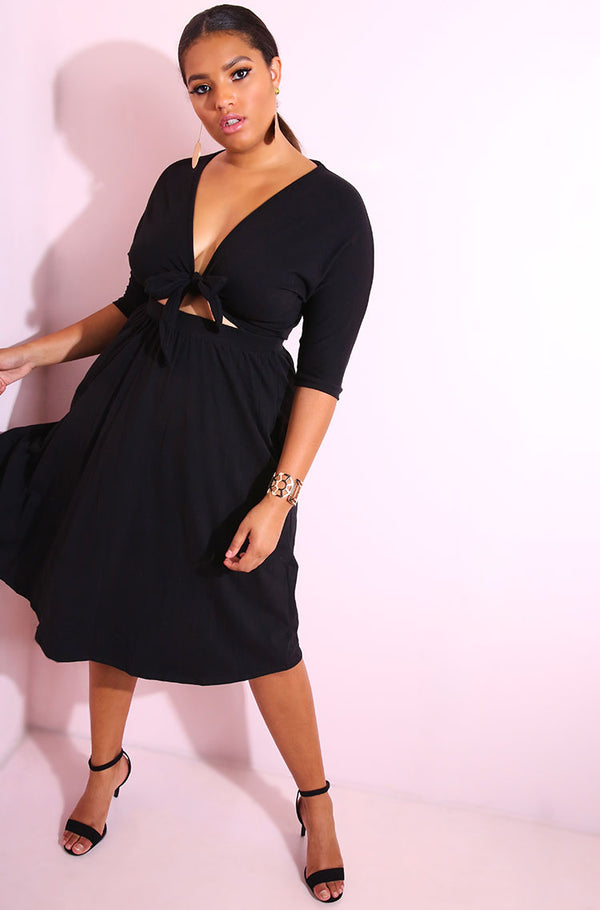 Black Front Tied Skater Dress plus sizes