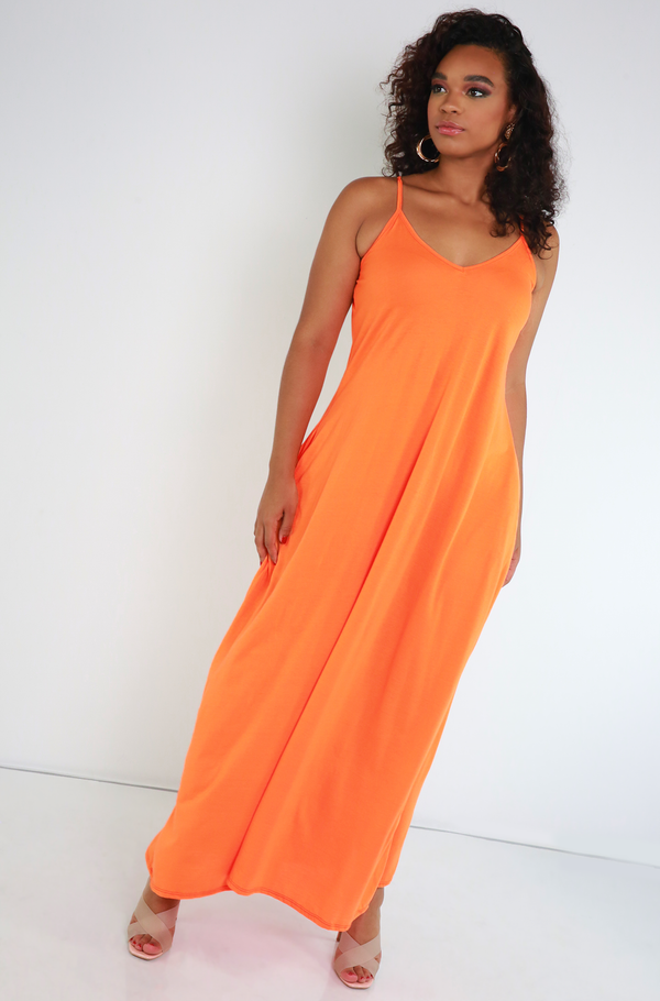 Orange Strappy Maxi Dress Plus Sizes