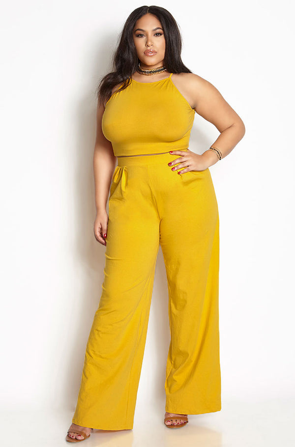 Mustard Pleated Two Piece Set plus sizes