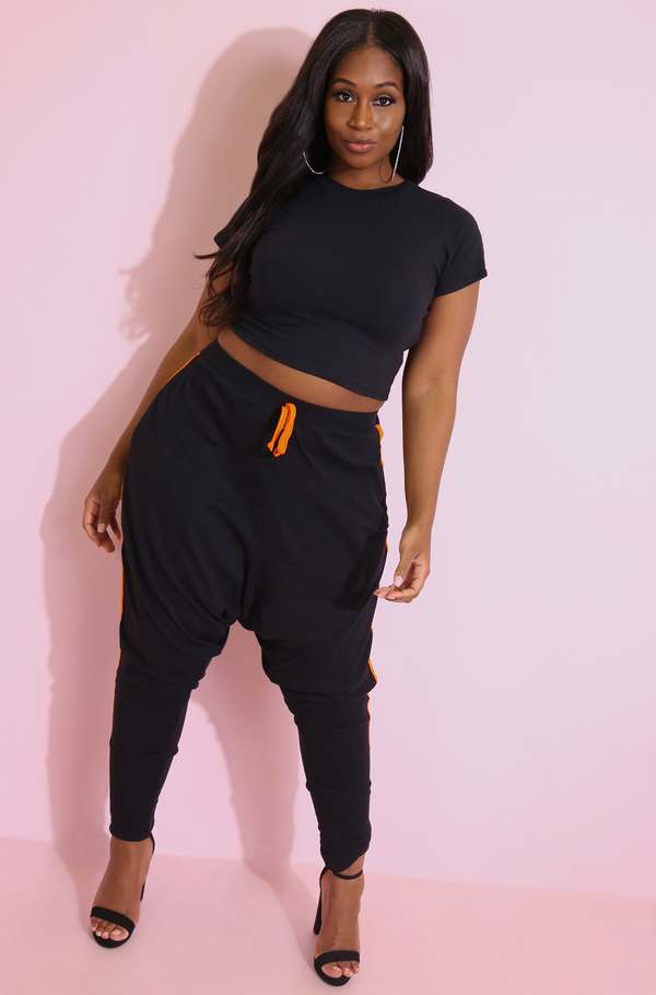 Black Sporty Striped Harem Pants Plus Sizes