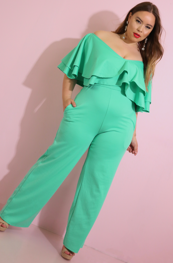 Mint Ruffled Wide Leg Jumpsuit Plus Sizes