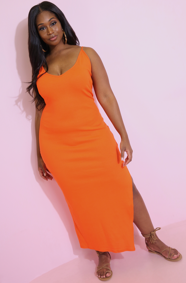 Orange V-Neck Maxi Dress Plus Sizes