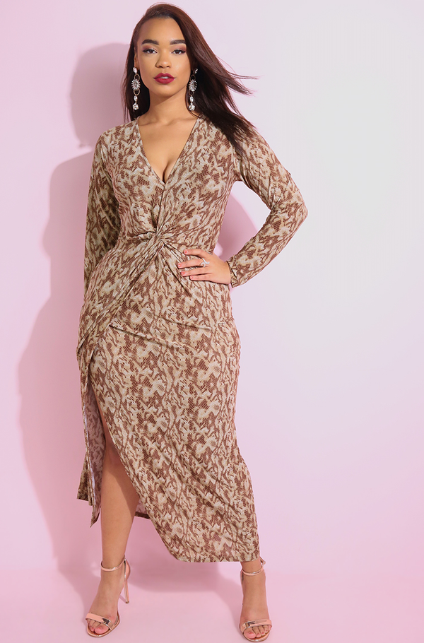 Animal Print Knotted Skater Maxi Dress plus sizes