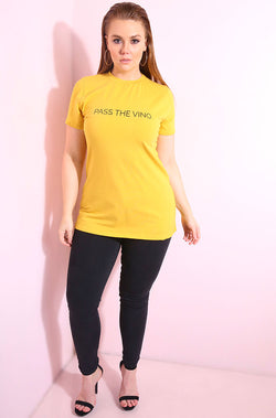 Mustard Crew Neck T-Shirt plus sizes