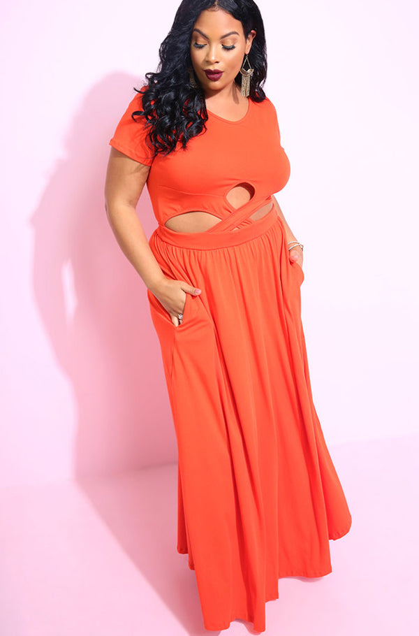 Burnt Orange Cross Over Bodycon Maxi Dress With Pockets plus sizes