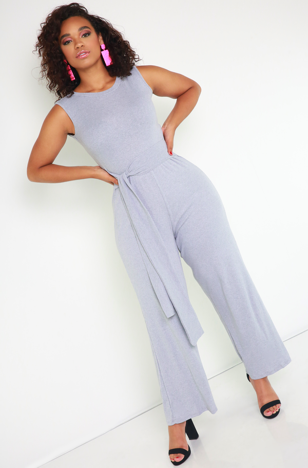 ribbed gray Belted Wide Leg Jumpsuit plus sizes
