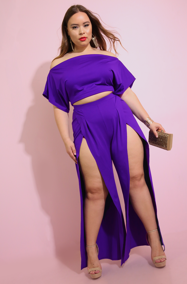 Purple High Slit Pants Plus Sizes
