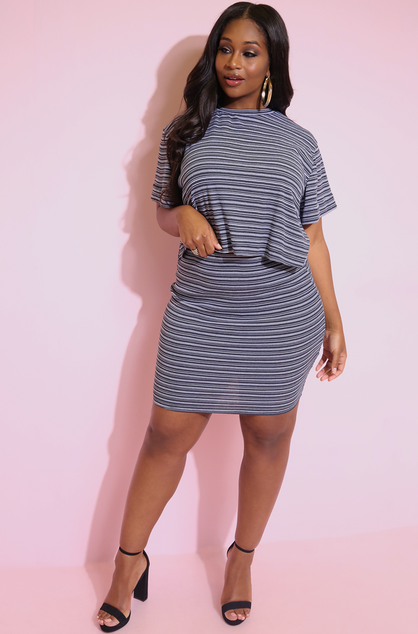 Black Striped Oversized Crop Top plus sizes