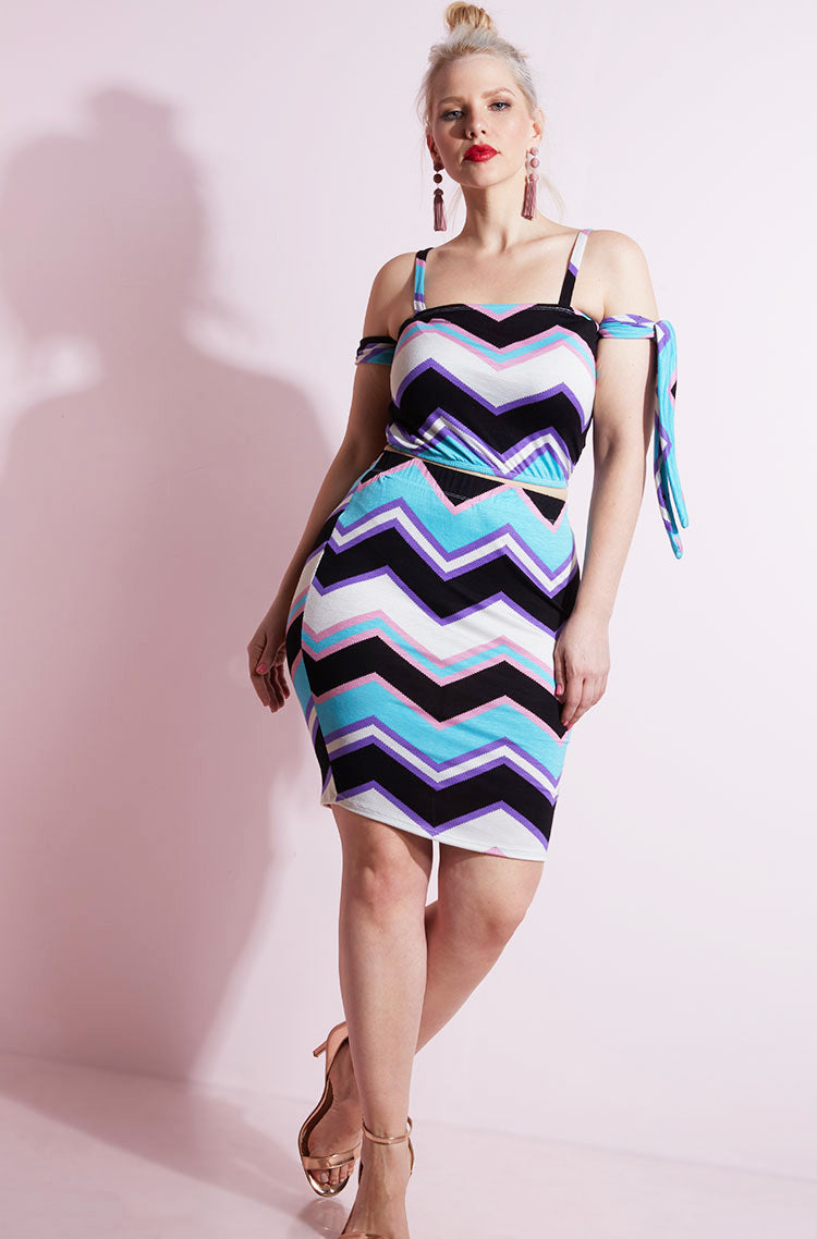 Blue Chevron Print Bodycon Mini Skirt plus sizes
