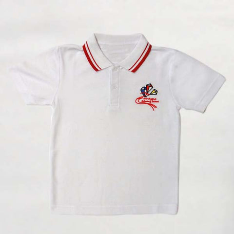 Windygoul Primary School - White with Red Tip Polo Shirt