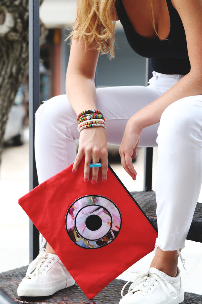Greek evil eye clutches