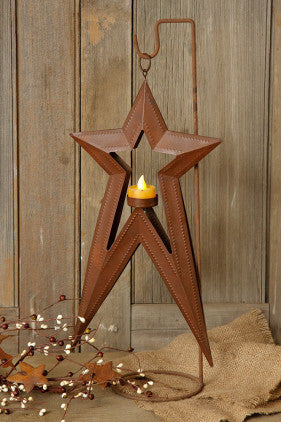 Candle Holder - Tea Light - Hanging Star With Stand